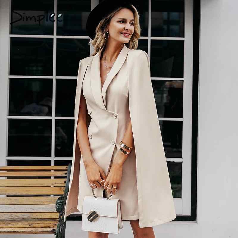 Simplee Vintage cloak blazer kobiety sukienka biurowa, damska v neck szal bez rękawów sukienka kobieta solidna impreza celebrytów sukienka vestidos