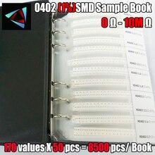 0402 1% ตัวต้านทาน SMD ตัวอย่างหนังสือความอดทน 170valuesx50pcs = 8500pcs ตัวต้านทานชุด 0R ~ 10M