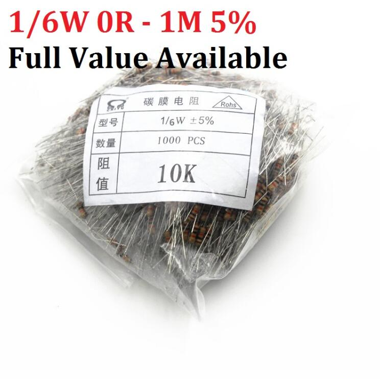 1000pcs 1/6W Carbon Film Resistor 1R - 1M 10K Ohm 10K 4.7k 2.2K 1K 100K 1/8W Metal 3/5/6/7/8/9.1.2.3.4.5.6.7.8./K/R 220R