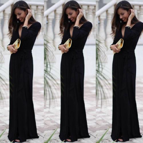 9b80c1d8d6c Thefound New Autumn Style Sexy Women Formal Prom Long Black Dress Evening  Party Beach Long Sleeve Maxi Dress V Neck O Neck