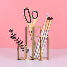 Hollow trzy sześciokątów uchwyt na długopis pędzle do makijażu wazon pudełko do przechowywania z Nordic styl biurko do pracy w domu pojemnik narzędzie