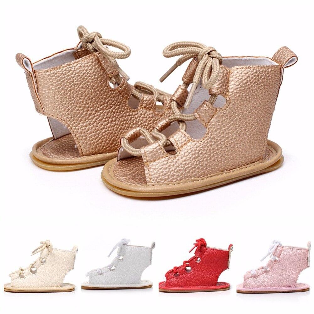 New 2018  Cross-tied Summer Toddler Newborn Baby Girl Shoes  Summer Shoes Anti-slip Flip Flop Prewalker For Baby Girls