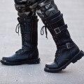 2017 estilo británico de los hombres Altos de mitad de la pantorrilla martin botas negro blanco raquetas de nieve nueva nieve del invierno botas de los hombres de cuero de la pu al aire libre zapatos