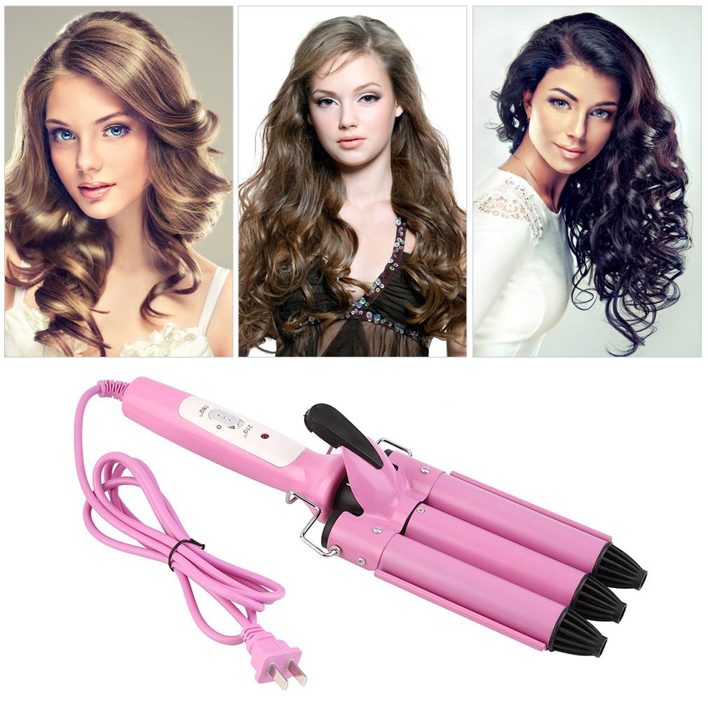 Professional Three Barrel Triple Barrel Ceramic Hair Curling Iron Deep Waver Curler Tool all types textures hair Hot Sale 2017 steam spray automatic hair curler led digital hair curling iron ceramic professional deep wave hair waver salon styling tool s33