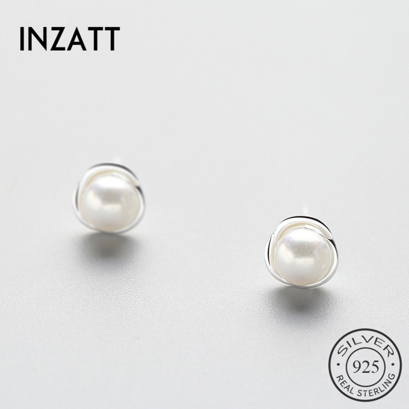 INZATT Fine Jewelry Pearl Flower Stud Earrings  For Women Romantic Anniversary Charm 925 Sterling Silver Accessories 2018 Gift