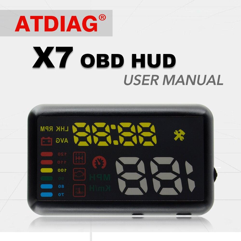 imágenes para ATDIAG X7 Coche Universal HUD Head Up Display KM/h MPH Parabrisas Del Vehículo Del Proyecto de Alarma de Exceso de velocidad Velocímetro