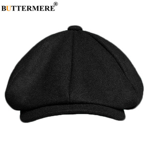 Image 5 - BUTTERMERE Mens Herringbone Flat Cap Wool Newsboy Hats Male Dark Grey Winter Classic Octagonal Cap Vintage British Painter Hat