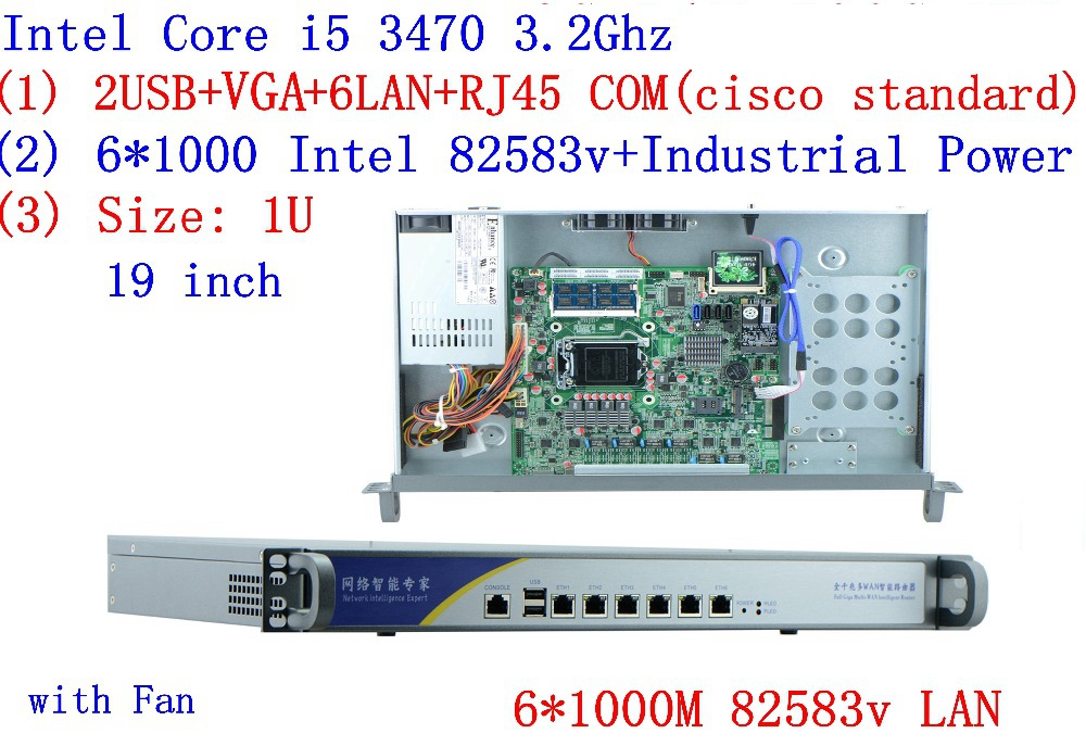 Network Security Server 1U Firewall PC With Intel B75 Chipset I5 3470 3.2 GHz Procesador Firewall Router Con 6*1000 M 82583V