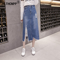 faldas mujer moda 2018 Autumn Korean Casual Fashion Hole Denim Skirts Midi Skirt High Waist Split Irregular Long Skirt S XL
