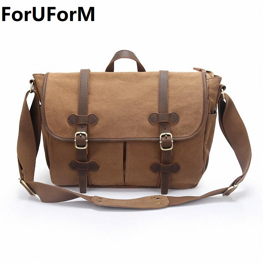 Men Vintage Canvas Messenger Bag Crazy Horse Leather Soft Man Travel Bags Retro School Bag Hasp Military Style Handbag LI-2104 casual canvas satchel men sling bag
