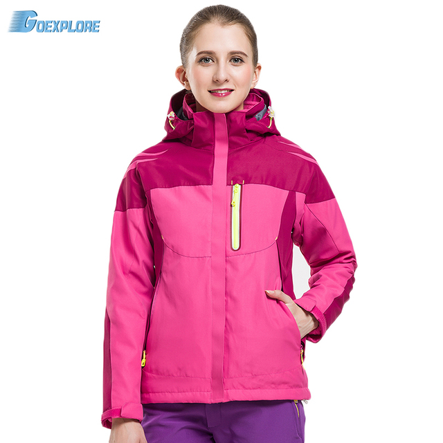 Goexplore Two-Piece Jacket Female coat Waterproof Hiking Softshell liner Climbing Thicken Thermal cloth camping jacket women