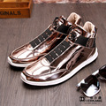 New Fashion High Top Casual Shoes For Men Genuine Leather Lace Up Gold Black Color Mens Casual Shoes Men High Top Sequins Shoes