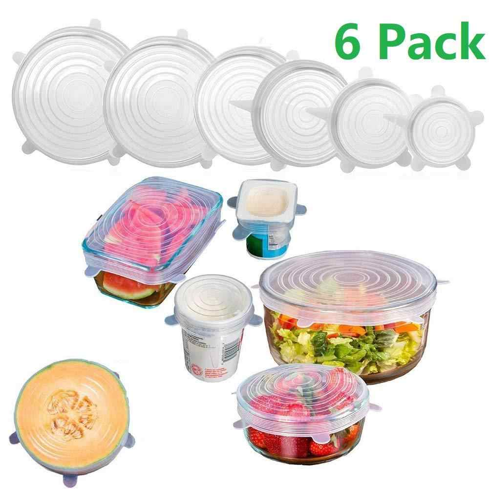 6Pcs Reusable Silicone Stretch Lids Cover Universal Fresh-Keeping  Food Cover Bowl Cover Protector Sealed Lid Kichen Accessories