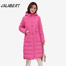 2017 Women winter long hooded large pocket Hooded Slim coats Female casual thickening jacket Parkas