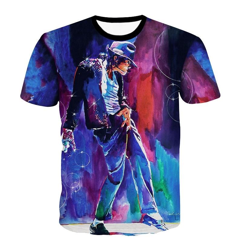 Raisevern Produzido Para Comemorar Michael Jackson Pintura Imprimir T Camisa Dos Homens/Mulheres Camiseta T-shirt MJ Traje de Dança Top Tee