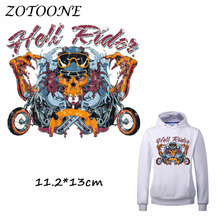 ZOTOONE Motorcycle Patch for Clothes T Shirt Rock Skull Ironing on Patches Sticker DIY Heat Transfer Accessory Washable Applique