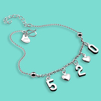 925 sterling silver chains for women,Lovely pendant digital design Silver foot jewelry,length 27cm silver anklets best gifts