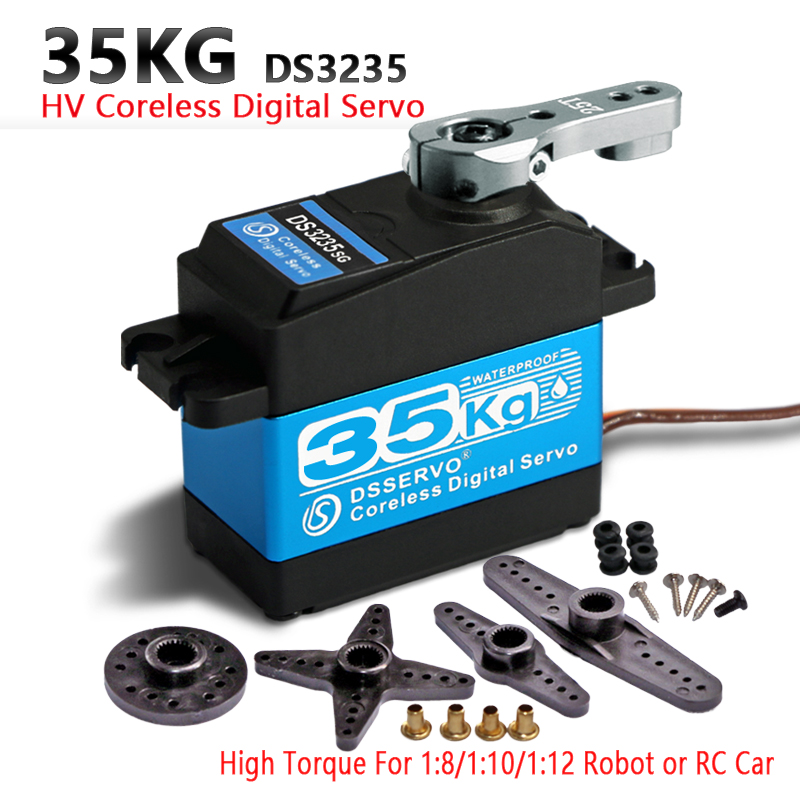 1X35 kg couple élevé sans noyau moteur servo DS3135 engrenage en métal et DS3235 en acier inoxydable étanche numérique servo pour robot bricolage, voiture RC