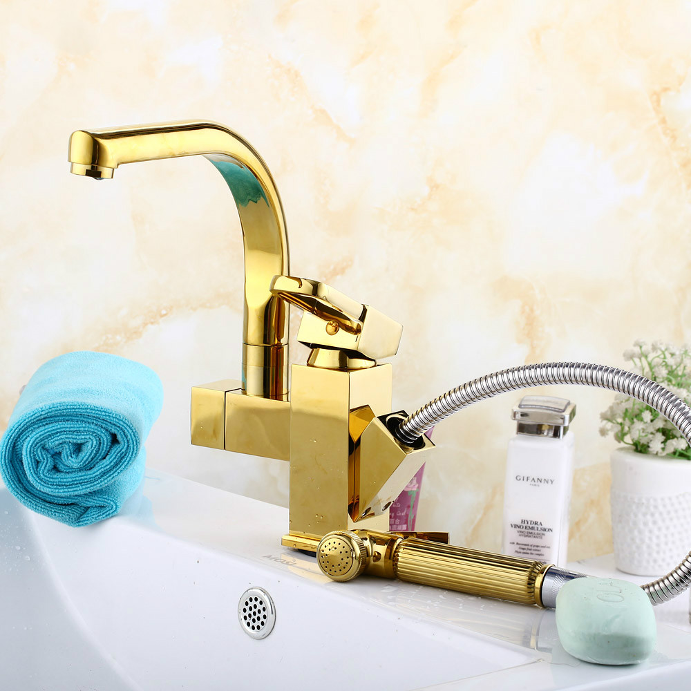 Pull Type Faucet And Shower Solid Brass Bathroom Faucet With Pull ...