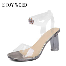 E TOY WORD Gold Silver Sandals PVC Transparent Crystal round heel Woman Waterproof sexy sandals lady high heels shoes