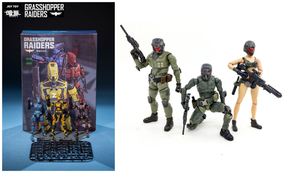 JOY TOY Model kits figures soldiers 1:27 GRASSHOPPER RAIDERS and STEEL RIDE CORPS two sets(6pcs) 2018 New Boxed Free shipping