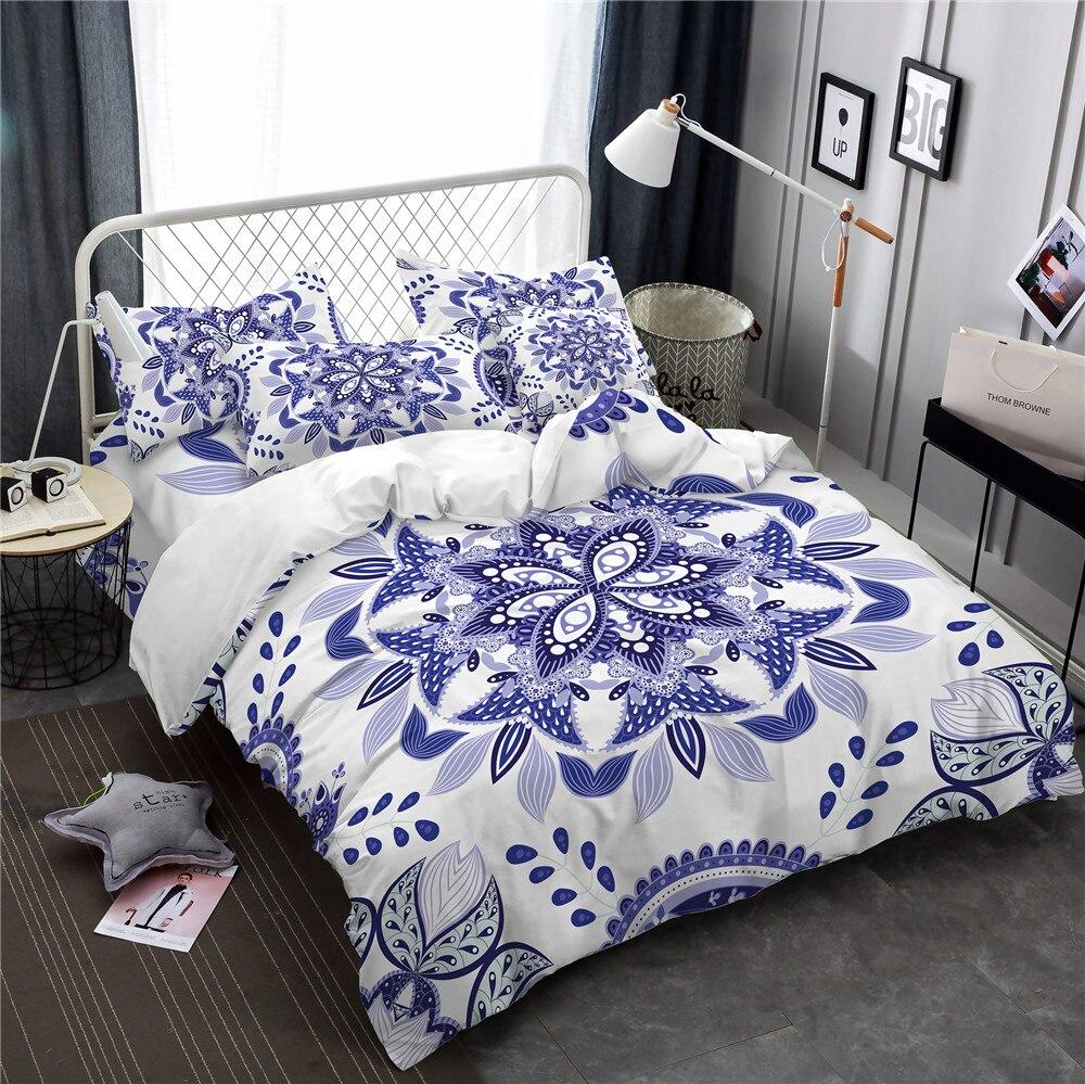 ethnic style blue and white flowers print duvet cover set bohemia bedding set 3pcs pillowcase. Black Bedroom Furniture Sets. Home Design Ideas