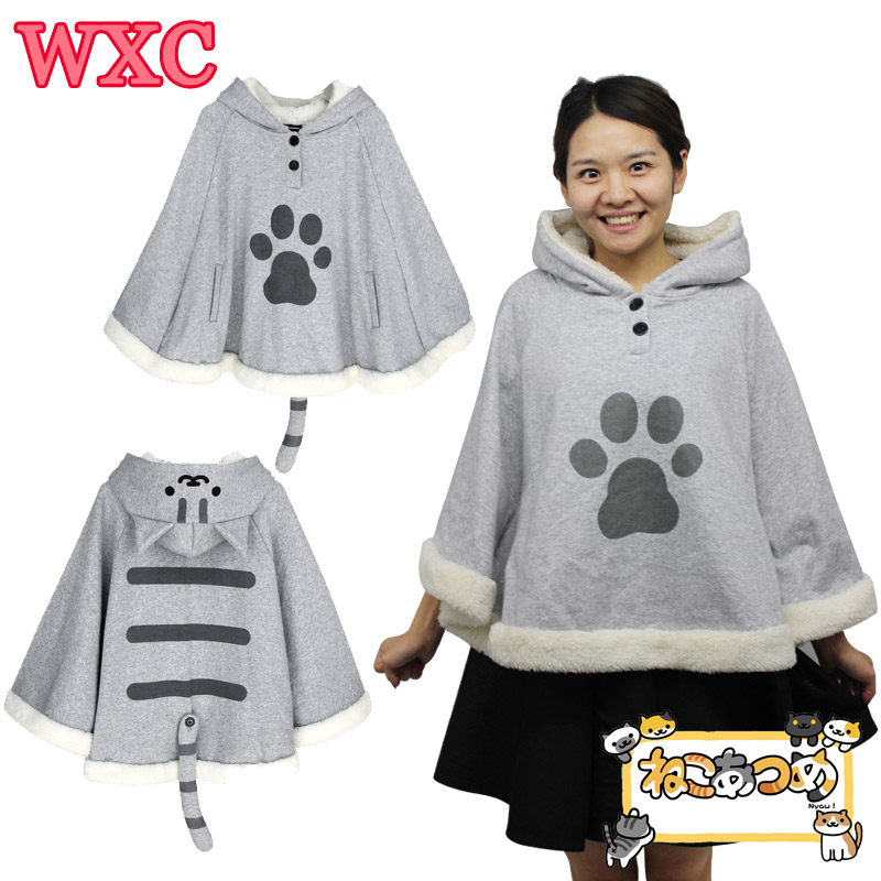 Japanese Neko Atsume Cloak Costume Harajuku Cute Cat Backyard Sweet Girls Warm Hoodies Kawaii Anime Cosplay Winter Coat WXC lakers шорты