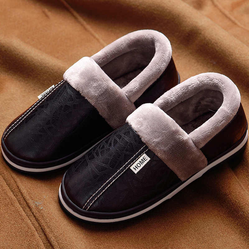 60e9e2c05977d Memory foam Slippers for men Big size 45-49 Warm Non-slip Winter Leather  House Slippers men High quality Indoors shoes