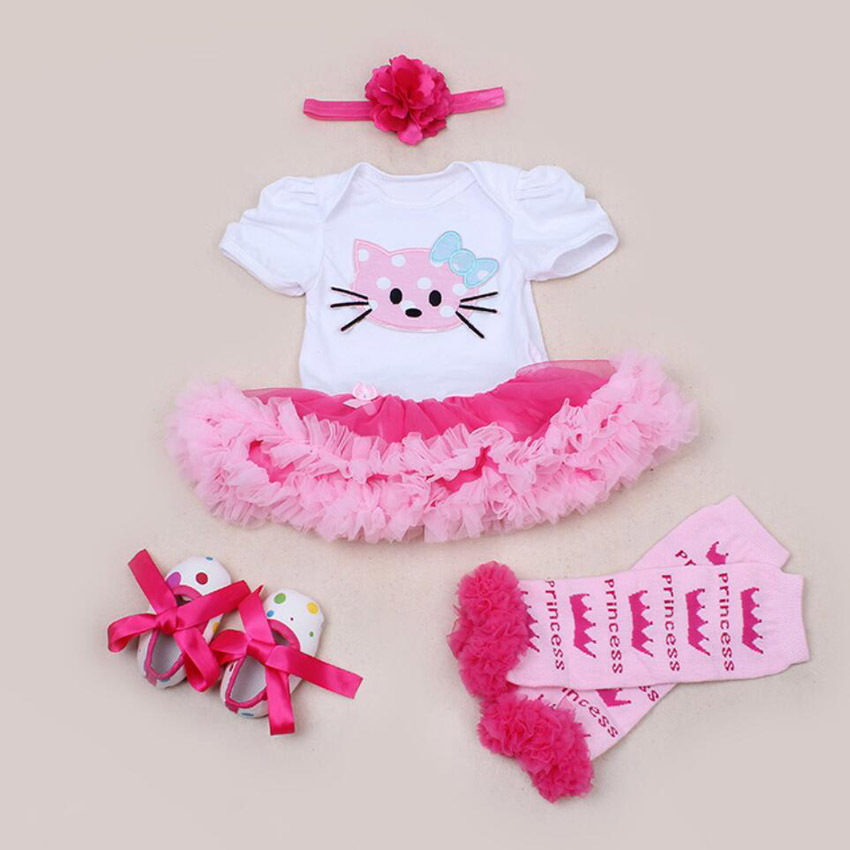 4PCs per Set Pink Hot Pink Baby Girls Party Dress Animal Cat Pattern Jumpersuit Headband Shoes Leggins for 0-24Months