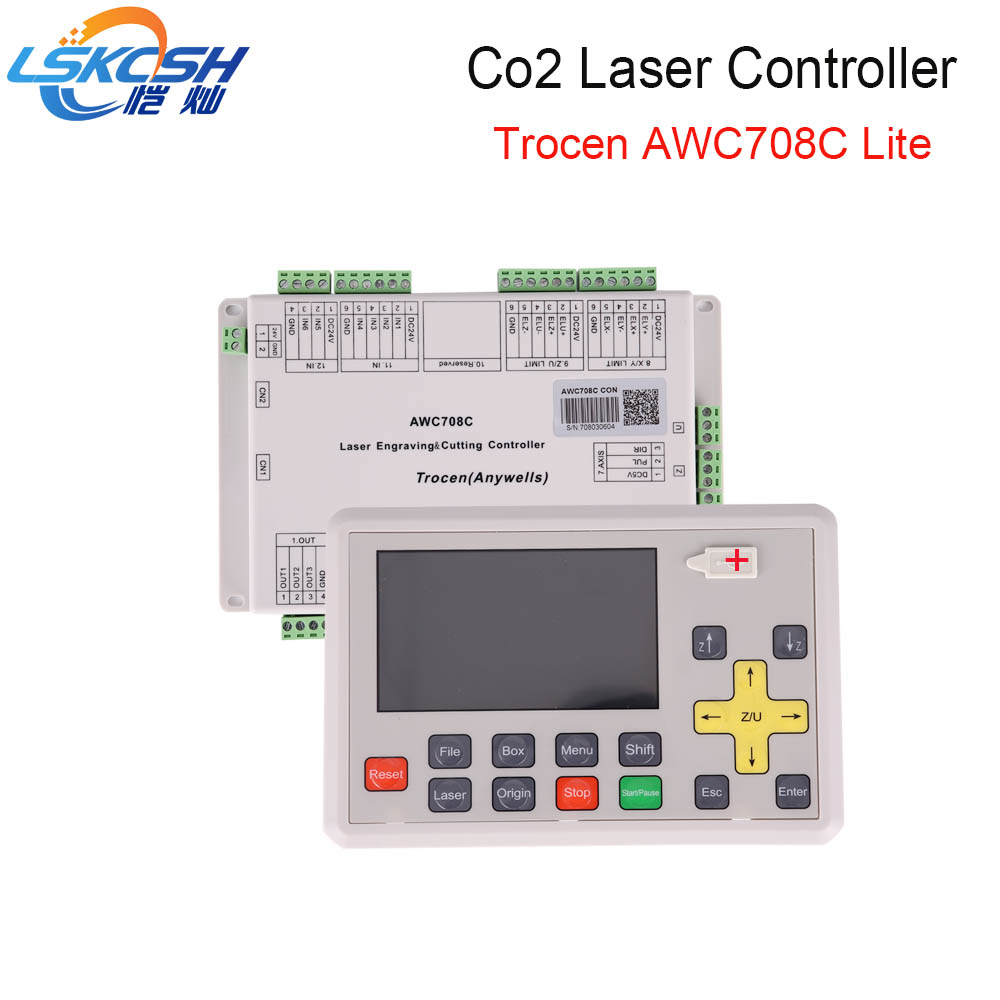 LSKCSH best seller 2018 AWC708C lite Co2 laser controller Co2 laser spare parts for Co2 Laser cutting machines wholesale free shipping ruida rdc6442s co2 laser spare parts laser machine controler co2 laser controller system