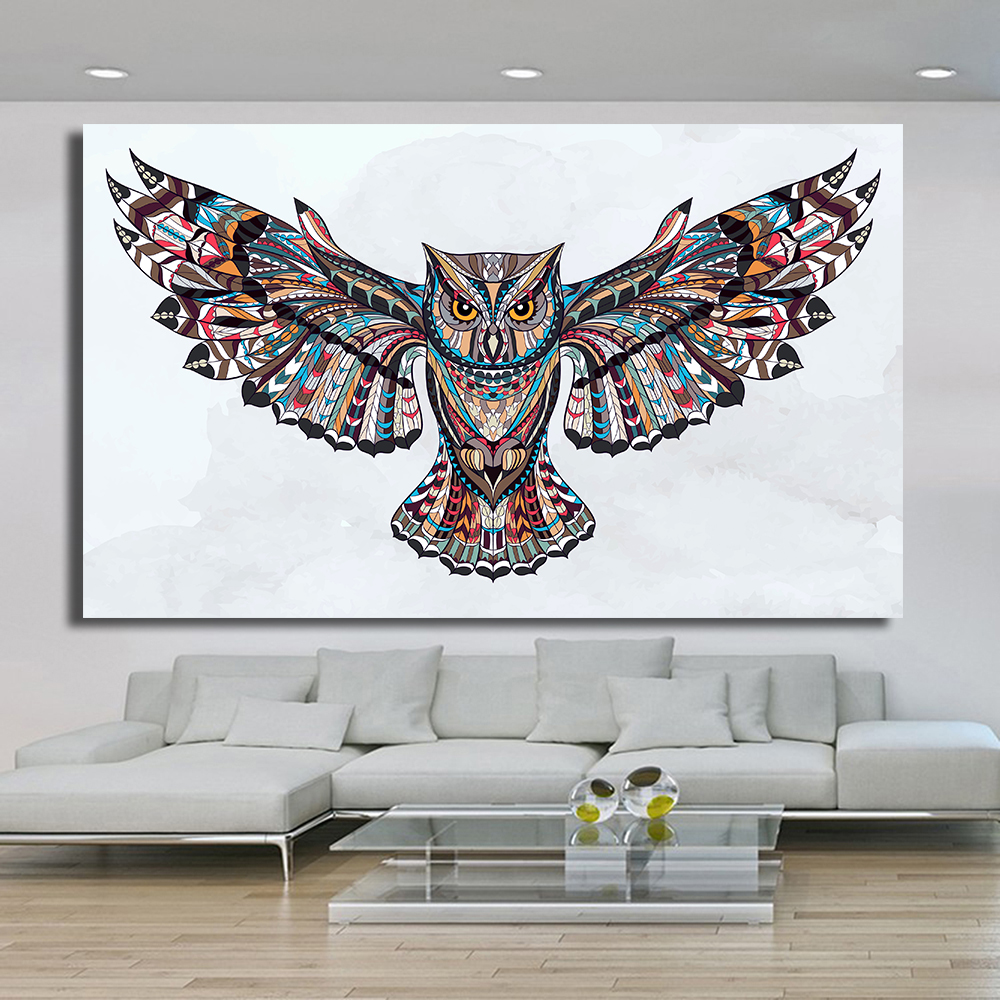 HDARTISAN Home Printed Fly the Wings of the Owl Modern Oil Painting on Canvas Prints Wall Art Pictures for Bedroom Living Room wings paintings home picture wings art - title=