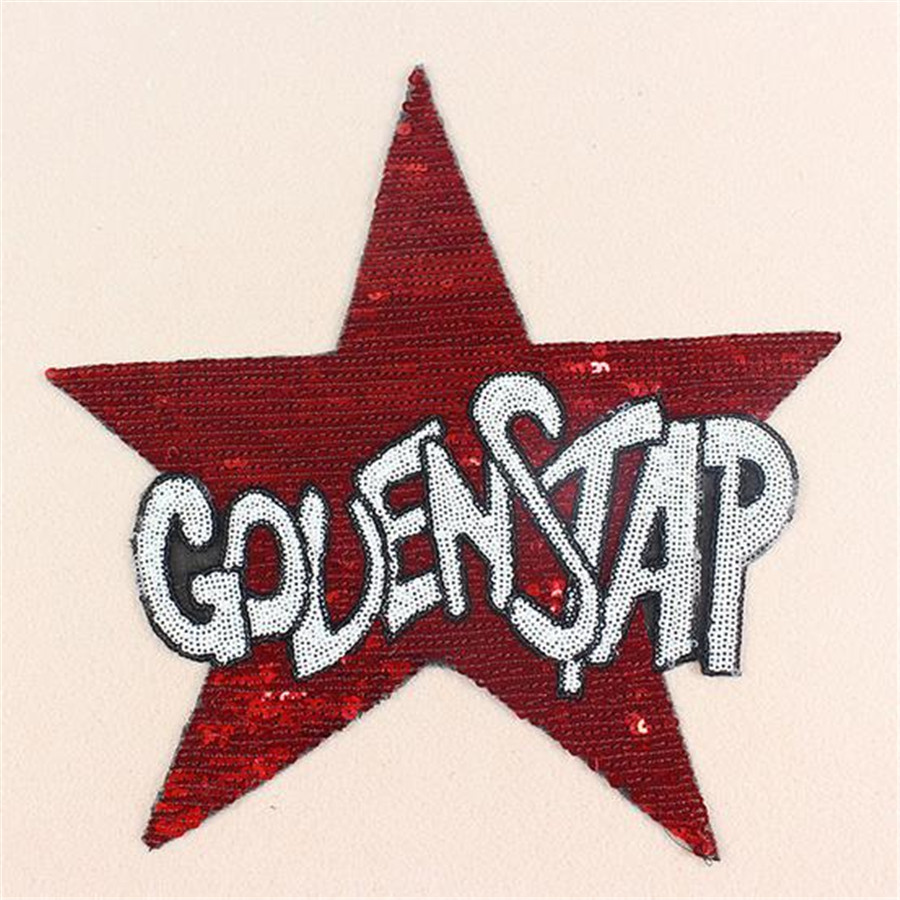 Sequins badge red GOVENSTAP patches for clothing, jacket, autumn dress, hoodies, polo, socks, jeans woman, faldas, vestidos, hat
