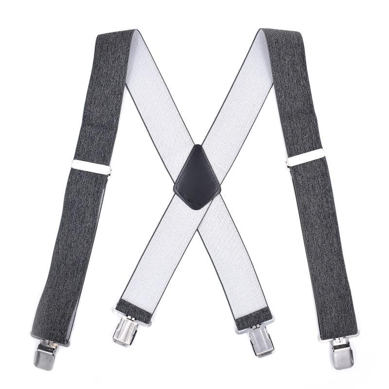 New Men Suspenders 4 Clip-On X-Strap 5CM Wide Trousers Braces Elastic Strap Shirt Stays Adjustable Suspenders For Boys Bretels