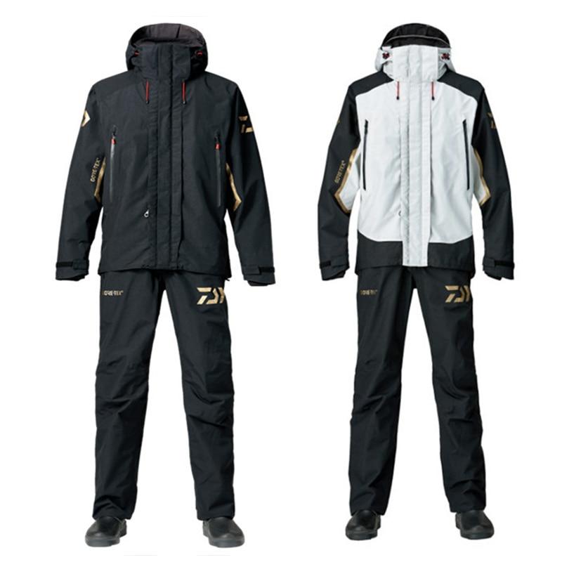 Daiwa inverno à prova dwaterproof água conjuntos de roupas de pesca dos homens respirável roupas de pesca ao ar livre terno de pesca quente camisa e calça