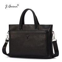 J.Quinn Male Leather Briefcase Handag Laptop Ipad for Men Thin Genuine Cowhide Leather Designer Shoulder Bags Mens Organizer Bag