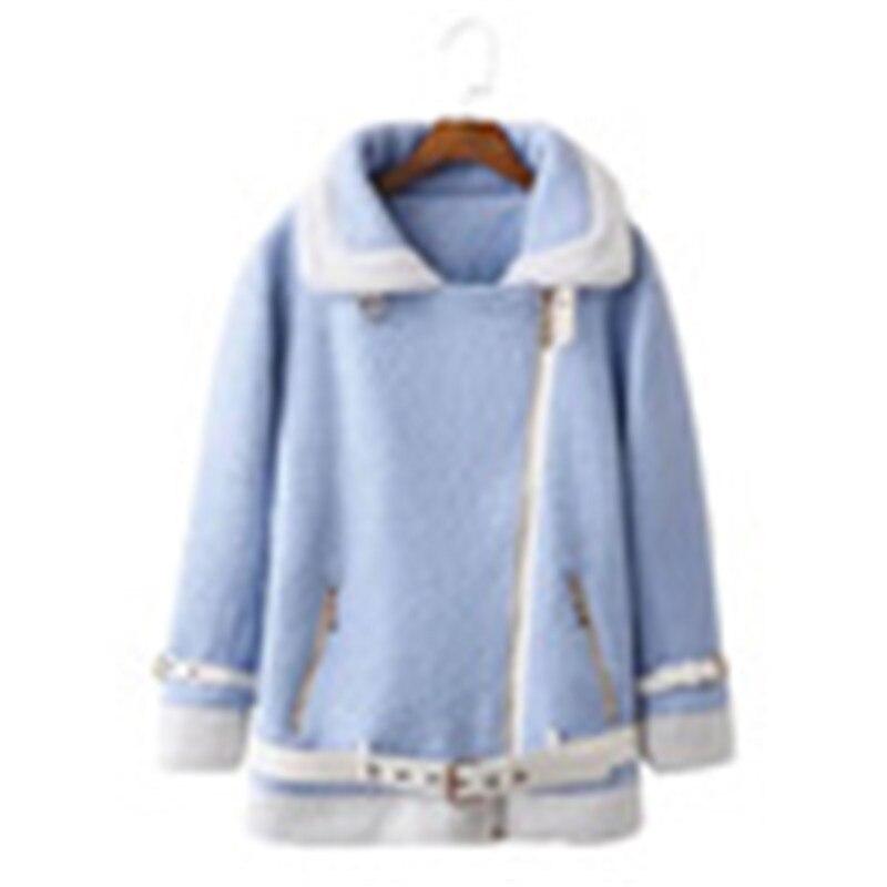 2018 Long Veste Fille Femmes Casual Zipper D'agneau Laine Pardessus rose Manteau Bleu Et Figurant Chaud Vêtements Hiver En Dame Doux Chaude w4qFqXP