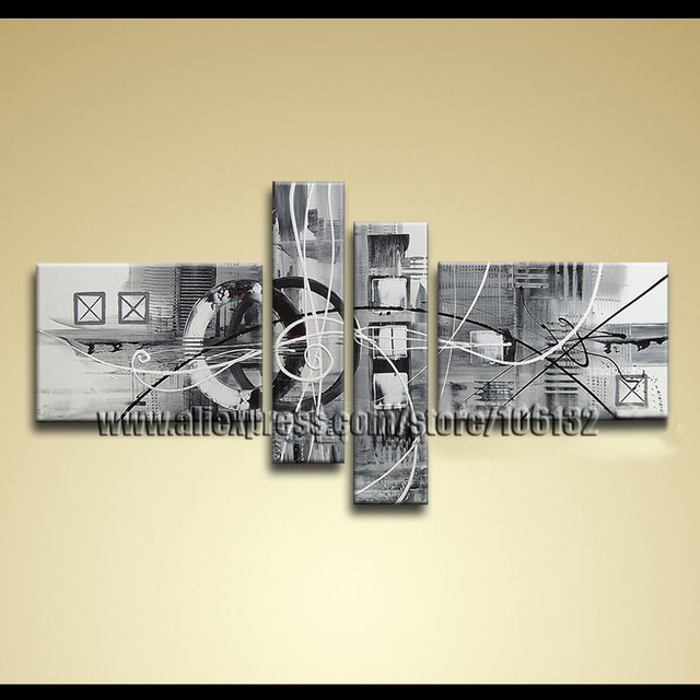 Framed 4 Panel Amazing Huge Black White Canvas Art Wall Decoration ...
