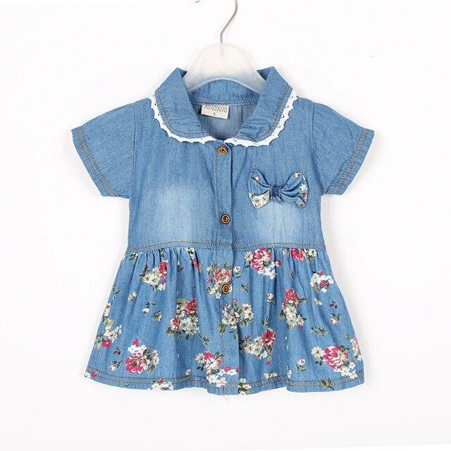 507af3e1ea5 Модные Летнее джинсовое платье в цветочек для отдыха  для девочек  симпатичное джинсовое платье с бантом
