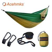 Acehmks Camping Hammock Portable Folding Ultralight Parachute Nylon Hammock Garden Swing Swing With 2pc Tree Straps