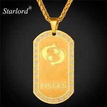 Starlord Encantos Del Zodiaco de PISCIS Colgante y Collar de la Mujer Regalo de La Joyería de Oro de Color Collar de Placas de Identificación Para Los Hombres de Moda P1832