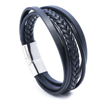 Fashion Retro Simple Hand-woven Multi-layer Men's Leather Bracelet Stainless Steel Trend Wild Boutique Men And Women Hand Rope