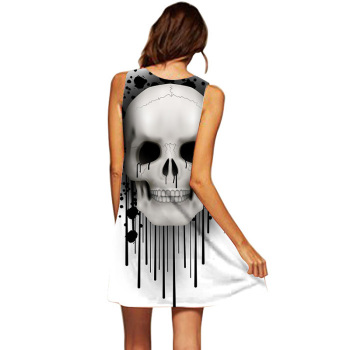 Women Sleeveless Skull Dress Robe Femme Summer Beach Dress Vestidos De Festa Casual Dress Robe Femme Ete 2019 Women Clothes 1