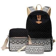 2017, Новая мода Дизайн Для женщин школьный рюкзак для девочек высокое качество холст молния школьная сумка леди мягкая задняя Комплект из 3-х предметов для путешествий