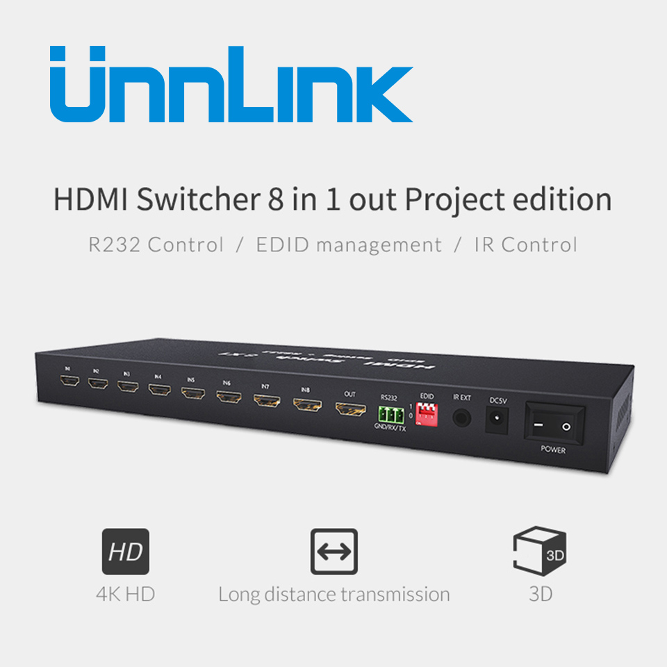 Unnlink HDMI Switch 8X1 HDMI v1.4 UHD 4K*2K@30Hz 8 In 1 Out RS232 IR Remote Control for smart 4k tv box computer monitor ps4 unnlink hdmi splitter 1x8 hdmi v1 4 1 8 uhd 4k 30hz 1 in 8 out hdmi splitters for smart led tv mi box projector ps4 monitor