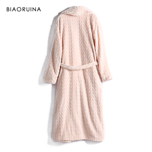 Image 2 - BIAORUINA Women All match Red Coral Fleece Solid Robes Female Casual Warm Sleeping Robes Womens Thick Everyday Robes
