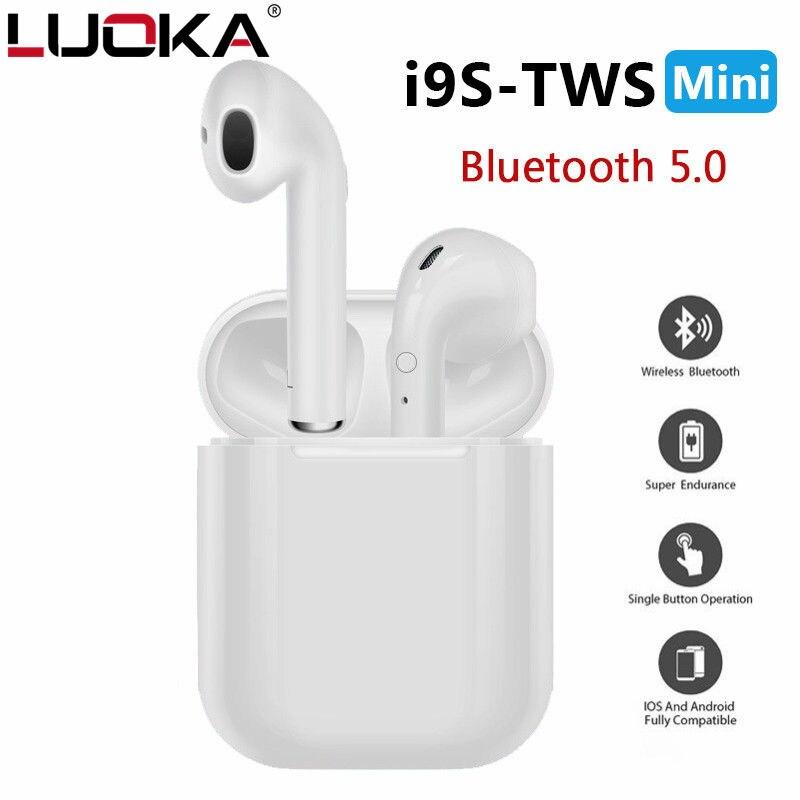 Heißer Verkauf LUOKA i9s TWS Mini Wireless Bluetooth Kopfhörer Stereo Ohrhörer Headset Mit Lade Box Mic Für Alle smartphone