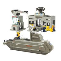 B0123 381pcs Building Block Brick Army Military Ship Model Battle War Ship Navy Vessel Boat Toy Equipment Technic Designer