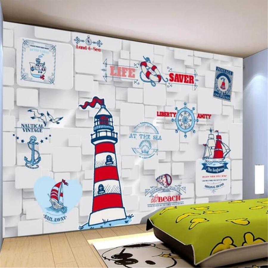 US $8 4 OFF Beibehang Foto Kustom Wallpaper 3D Stereo Mural Kartun Angkatan Laut Ikon Kamar Anak Anak Latar Belakang Wallpaper Untuk Dinding 3D