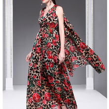 5ac4a458c464 Summer Holiday Wind Pendulum Long Dress New Women s Clothing V Collar After  The Flowing Mantle Leopard