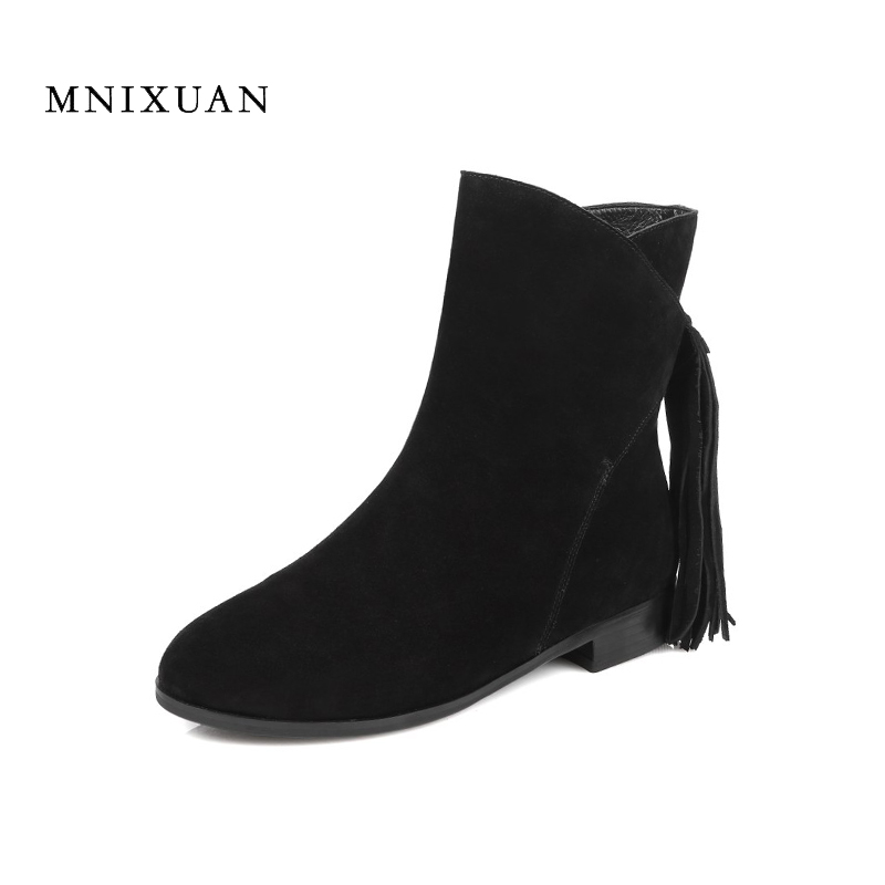 Tassel boots women 2017 autumn winter new genuine leather round toe block low heels with fringe short black ankle boots big size 2017 autumn winter new womens leather ankle boots ladies black short boots round toe high block heel zip up booties size